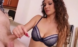 Beautiful milf tugging dick and showing tits