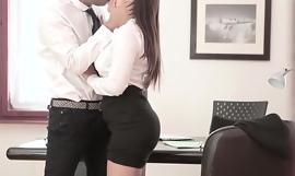 Superb office employee shop-talk keep away from legs hidden