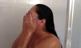 Comment please my sexy latina wife showering and shaving her beautiful pussy #2